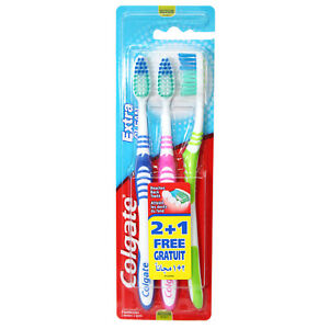 Colgate Toothbrush Extra Clean 3 Pack Medium Bristles Free Shipping ... a54f5ca4dff1