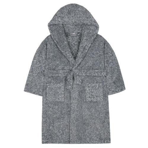 Kidz Boys Snuggle Soft Hooded 2 Tone Dressing Gown Robe
