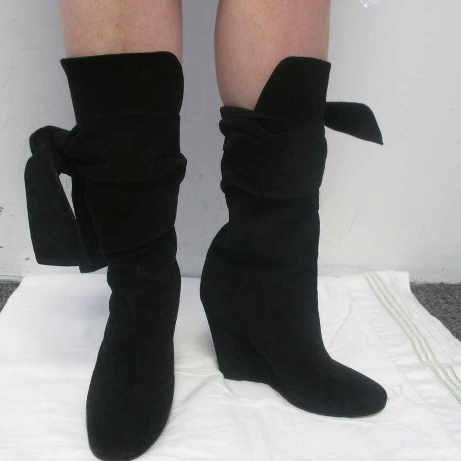 all'ingrosso economico e di alta qualità CHLOE nero SUEDE WRAP AROUND WEDGE WEDGE WEDGE stivali SZ 36.5 6.5  all'ingrosso a buon mercato