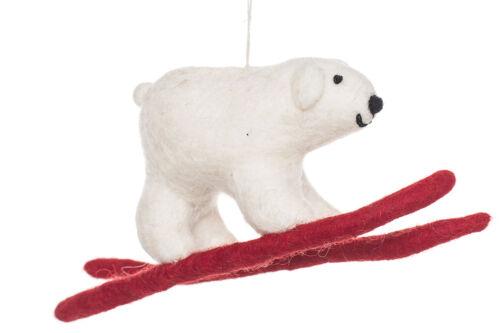 Felt So Good White Polar Bear on Skis Tree Hanging Decoration Gift Fair Trade