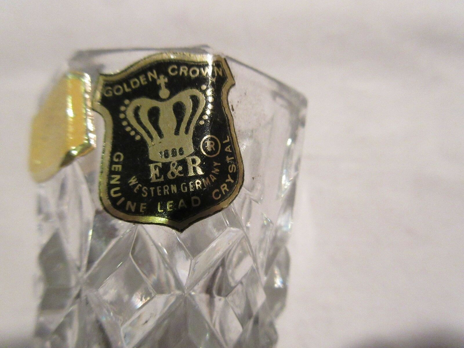 "Golden Crown, E & R LEAD CRYSTAL VASE ,1986 , 2 1/2""Hig"