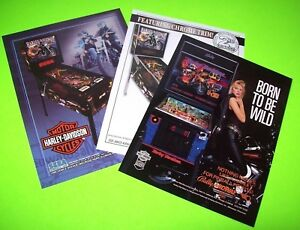 Set-Of-3-HARLEY-DAVIDSON-Original-Pinball-Machine-Promo-Flyers-Bally-Sega-Stern