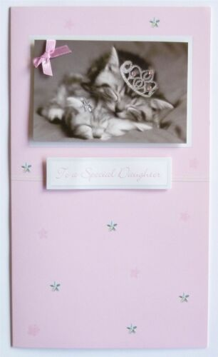 Hand Crafted Daughter Girl Happy Birthday Card /& Envelope Sealed Kittens