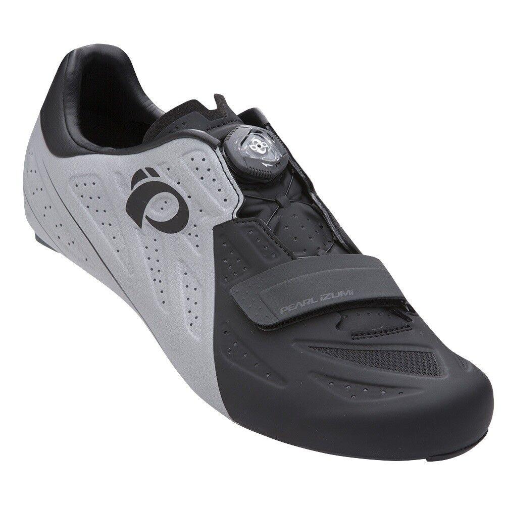 Pearl Izumi Elite Straße V5 Kohlenstoff Boa Fahrrad Schuhe Schwarz Silber 47