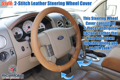 2004 Ford F-150 King Ranch F150 2-Stitch Style Leather Steering Wheel Cover