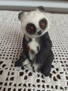 "PANDA Mother Holding Baby Resin Carved Statue Figurine Glass Eyes 3"" Handpainted"