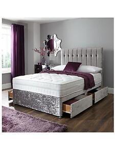 6ft Super King Size Crushed Velvet Divan Bed Base Storage Draws