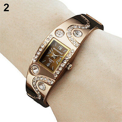 Womens Girls Chic Bracelet Bangle Wave Rhinestone Crystal Wrist Watch B57U