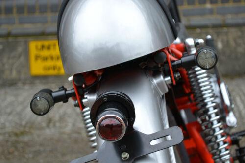 LED Indicators for Retro Cafe Racer Custom Motorbikes Crinkle Matt Black Steel