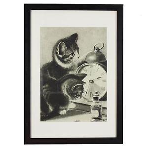 RSPCA-Heritage-Collection-A3-Black-Framed-Print-of-Cat-amp-Kitten