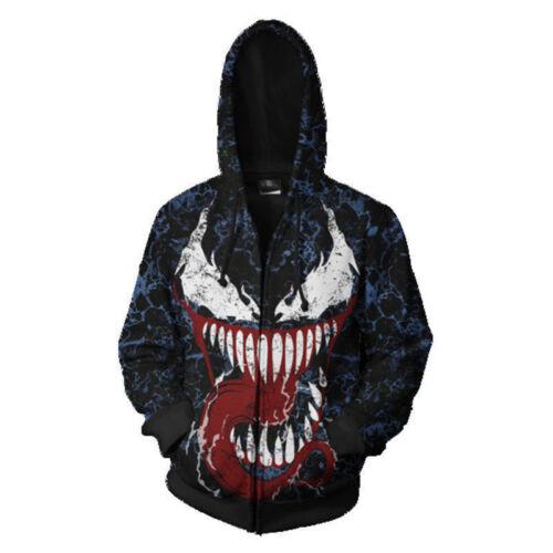 Cosplay New Venom Spider-Man Hoodie Pullover Cool Coat Jacket Sweatshirt Tops