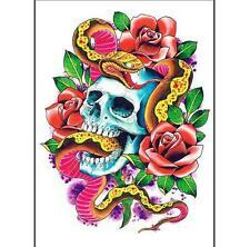 Temporary Tattoo Fake Tattoo Snake Skull 18x13,5cm Medium wasserfest(V-041)