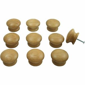 10 X Oak Wooden Door Drawer Knobs Kitchen Cupboard Cabinet 44mm Diameter