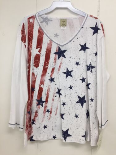 Jess and Jane Stars and Stripes Patriotic American Flag Shirt Size New with Tags