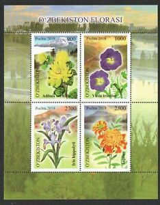 UZBEKISTAN-2018-MOUNTAIN-FLOWERS-SOUVENIR-SHEET-OF-4-STAMPS-IN-MINT-MNH-UNUSED