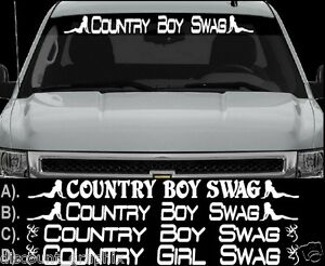 COUNTRY BOY SWAG OR GIRL WINDSHIELD LETTERING DECAL STICKER X - Country boy decals for trucks