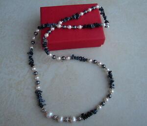 LDN-Collier-Perles-d-039-eau-douce-Snowflake-Obsidian-Swarovski-Perles-Argent-Tibet