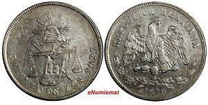 Mexico-SECOND-REPUBLIC-Silver-1879-ZS-S-50-Centavos-Zacatecas-Mint-KM-407-8