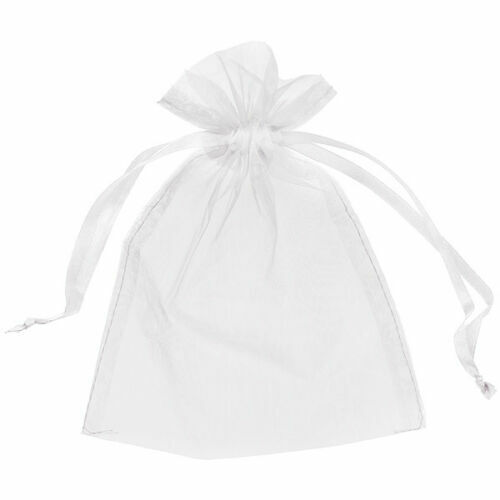 100X SMALL 7CM X 9CM LUXURY WHITE ORGANZA GIFT BAGS WEDDING FAVOUR SWEET BAGS UK
