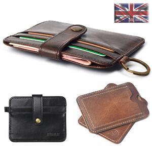 UK Leather Mens Small Id Credit Card Wallet Holder Slim Case Pocket
