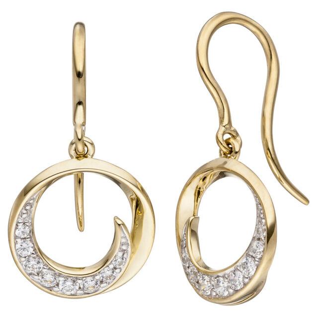 Damen Ohrhänger rund 333 Gold Gelbgold 16 Zirkonia Ohrringe Goldohrringe