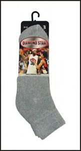 Details about 3 6 12 Pairs SOFT COTTON Diamond Star Men's Ankle Socks Full  Cushion Size 10-13