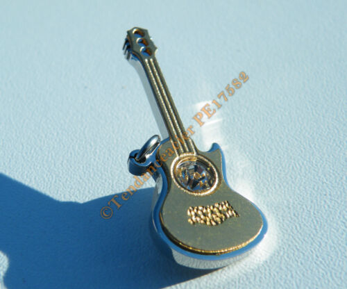 Pendentif Guitare Musique Acier Inoxydable Plaqué Or 1 Zc Cz Strass Diamant