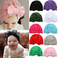 Solid Bow-knot Turban Headband Beanie Hat Head Wrap Cap Toddler Kids Baby Infant