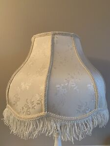 Vintage Victorian Large Ivory/Cream Scalloped Lamp Shade W/ Fringe
