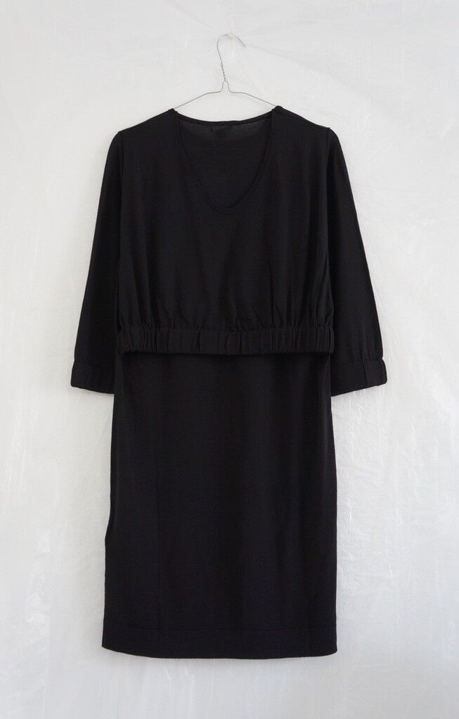 Hof115  cos abito a Maglia 100% LANA NERO NERO NERO layered KNIT DRESS WOOL nero XS 5ed6fb