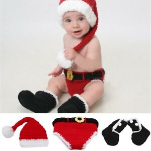 Image is loading Newborn-Baby-Christmas-Santa-Claus-Costume-Knited-Hat- 44537b2355be