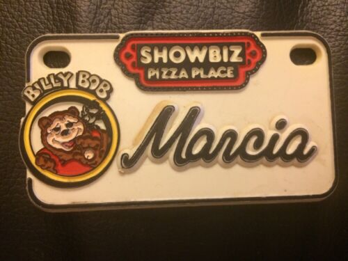 Vintage 1980/'s ShowBiz Pizza Place Billy Bob Souvenir Name Plate Badge Marcia