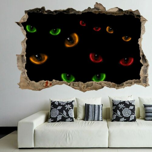 Colourful Wild Cat Eyes Darkness Wall Art Stickers Mural Decal Kids Room EH7