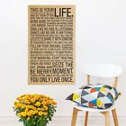 This Is Your Life Inspirational Words Quote Silk Wall Poster Home Bedroom Decor