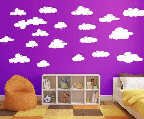Cloud Wall Decals Pack of 20 White Matt Finish perfect to match your decor A355