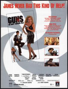 GUNS__Orig. 1990 Trade print AD / ADVERT__Dona Speir__Erik Estrada__Andy Sidaris