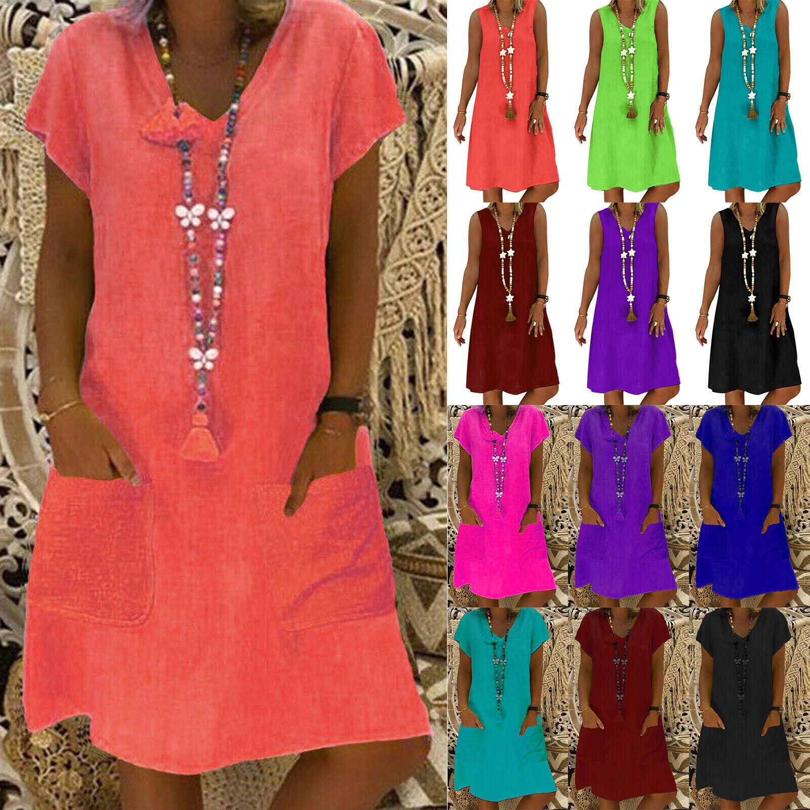 Plus Size Women's Cotton Linen T-Shirt Mini Dress V Neck Holiday Beach Sundress