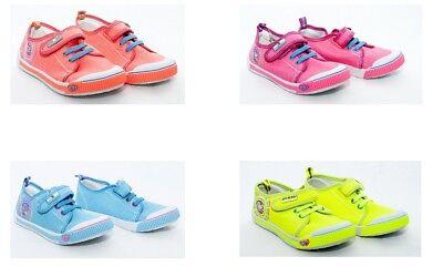 Niñas Lona Hook & Loop Sujetadores Zapatillas Zapatos Bombas EU 10-1 UK (28-33)