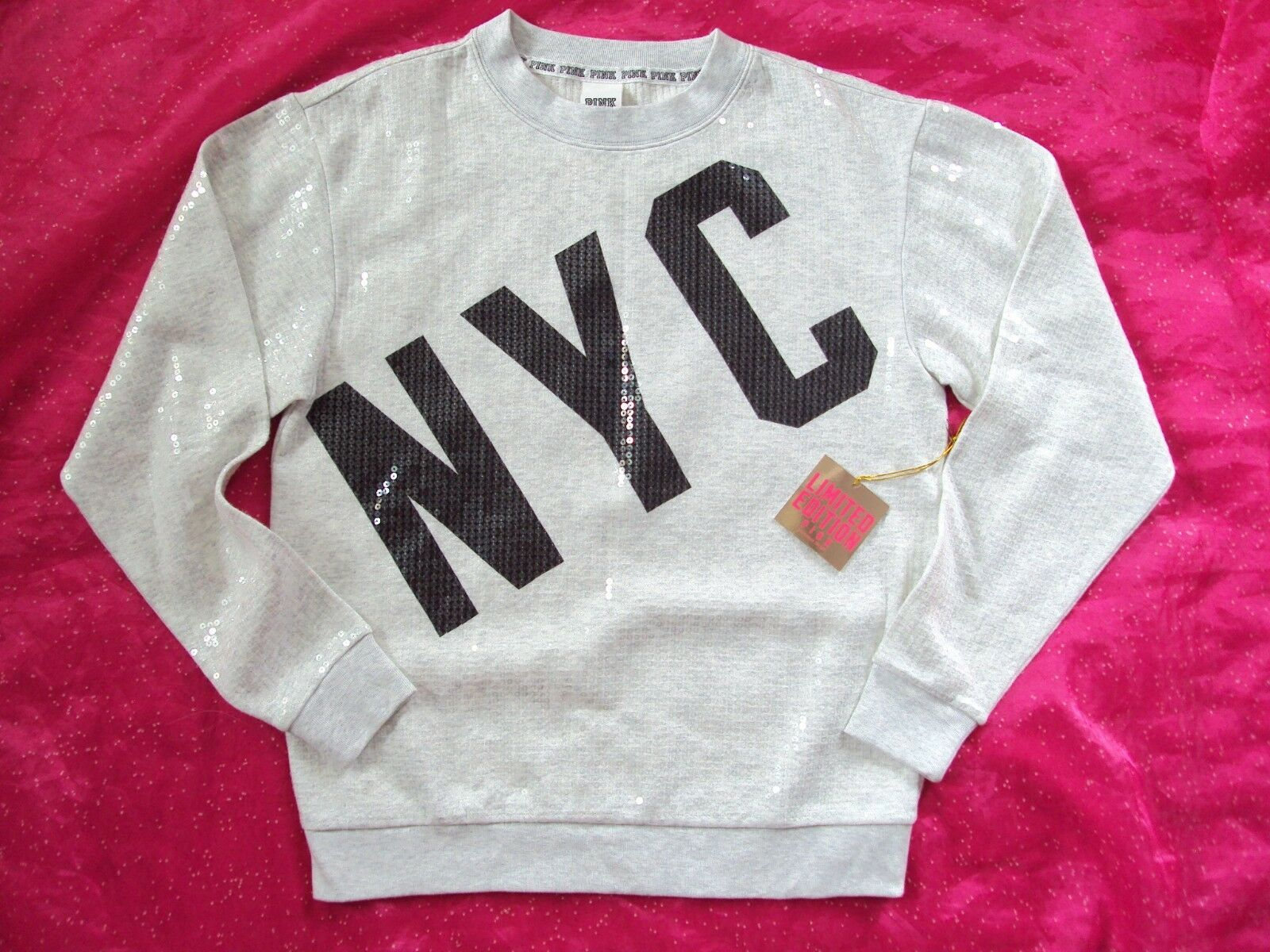 Victorias Secret PINK Womens Small Sweatshirt New York City Sequin NY Bling Nwt