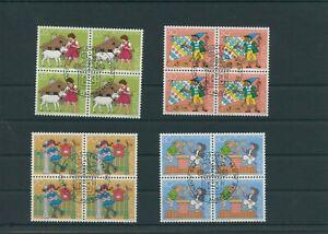 Switzerland-vintage-yearset-1984-Mi-1284-1287-Postmarked-pro-Juventute-4-er-Bl