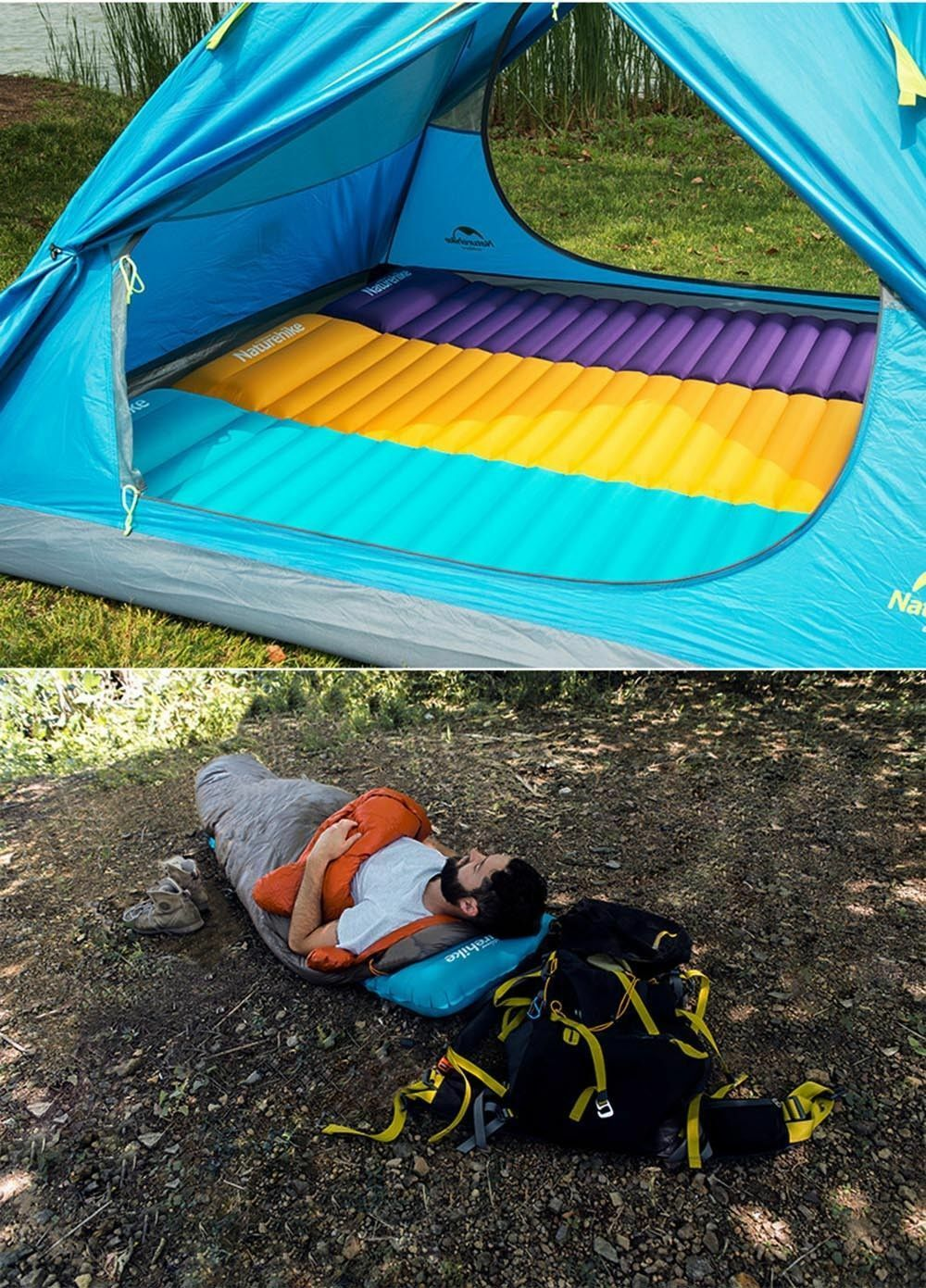 Camping Beach  Hand-press Inflatable Sleeping Pad Bed Single Tent Air Mat Mattres  up to 70% off