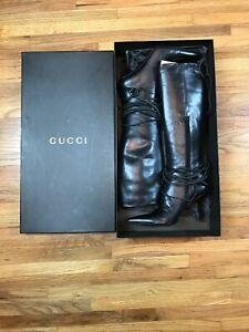 GUCCI-Black-Leather-Stivale-Suola-Cuoio-Samoa-Tall-Knee-Boots-Size-38-Women-US-8