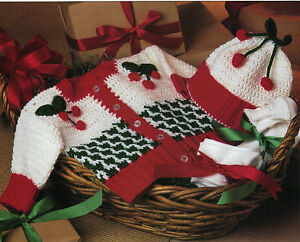 Crochet Baby Santa Booties Pattern : SANTA Booties/Cherries Baby Sweater/Cap/CROCHET PATTERN ...