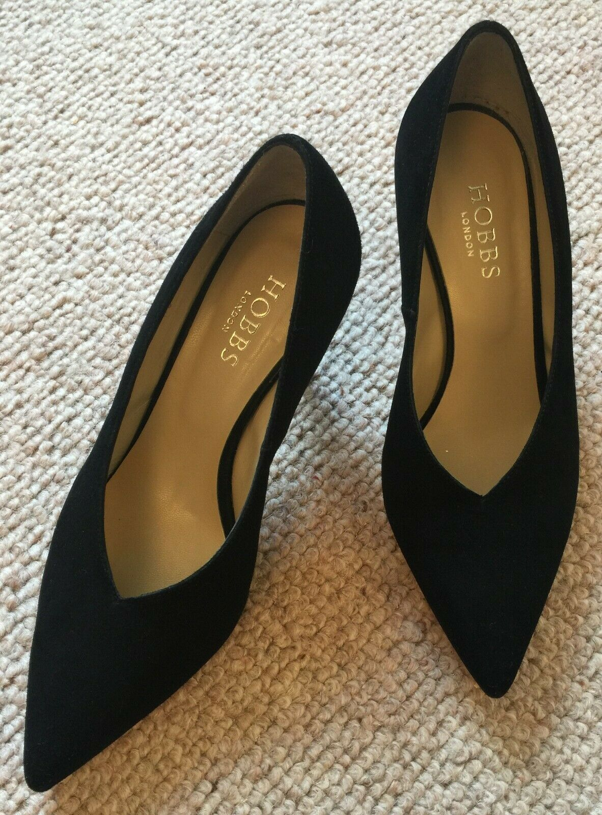 Hobbs Black Court Shoes - 1980's Style - Suede - UK 5.5 - RRP - Worn Once