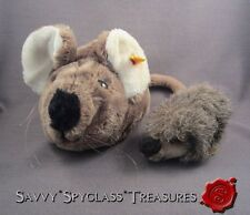 Steiff Stuffed Plush Toys #1675/13 Joggi Hedgehog & #5392/30 Cosy Field Mouse