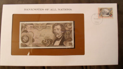 Banknotes of All Nations Austria 20 Shilling 1967 UNC P 142 Birthday J 919694H