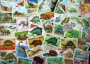 DINOSAURS-and-PREHISTORIC-ANIMALS-collection-of-100-different-stamps-Lot-dp