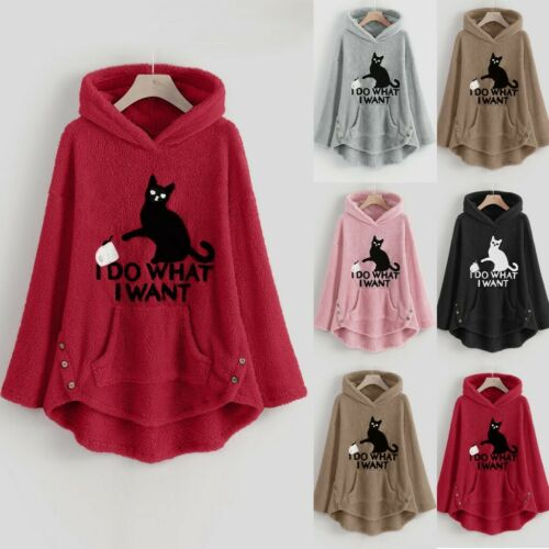 Womens Fleece Cat Embroidery Sweatshirts Plus Size Warm Hoodie Top Button Blouse