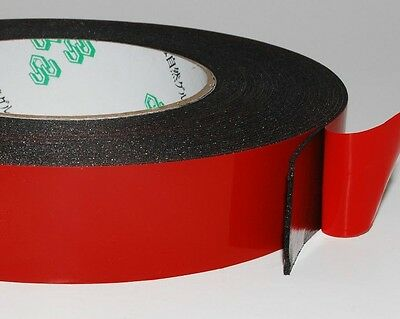 25mm x 30M Black Strong Adhesive Double Sided Foam Tape Car Trim Plate A137