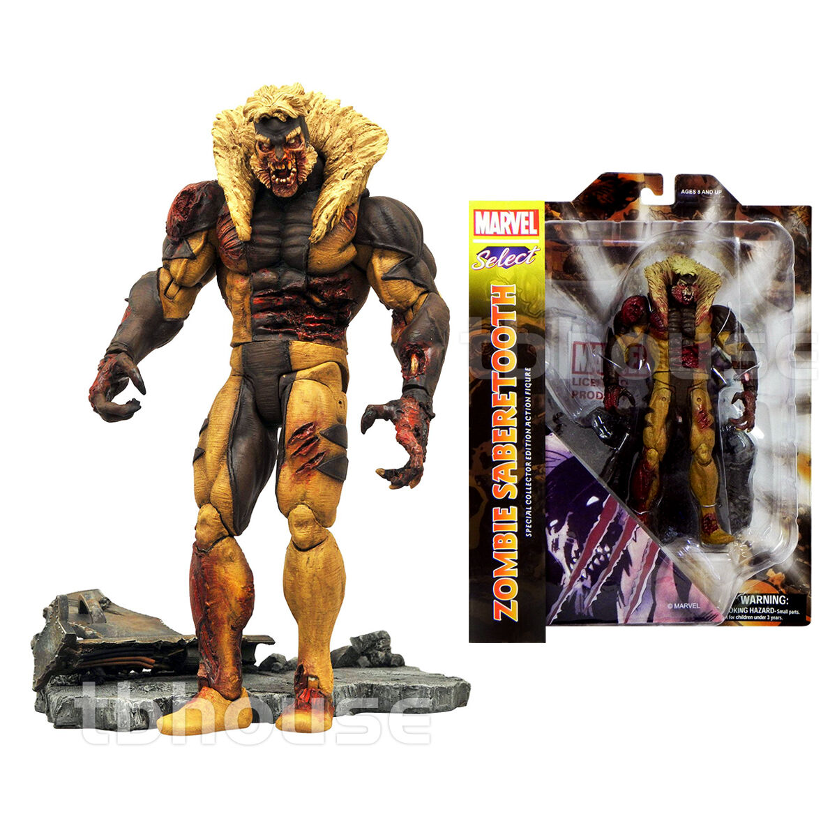 ZOMBIE SABERTOOTH figure MARVEL SELECT bloody DIAMOND SELECT TOYS universe DST